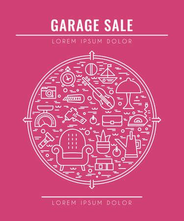 Garage sale sign. Template for poster, banner, flyer.Yard sale flyer template. Vector line style illustration.