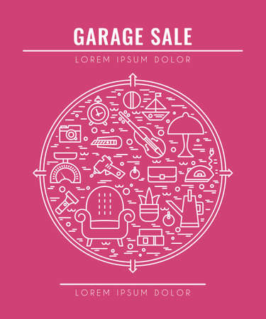 Garage sale sign. Template for poster, banner, flyer. Yard sale flyer template. Vector line style  illustration. Illustration