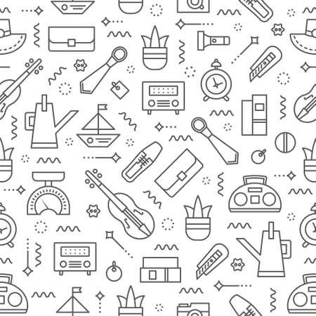 Editable  vector seamless pattern. Garage sale background. Yard sale background. Flea market background.   Background for Websites, Banners, Posters. Vector line style illustration.