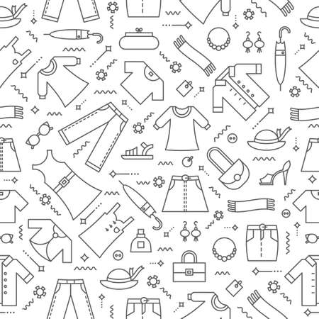 Editable  vector seamless pattern. Women's clothing background.  Background for Websites, Banners, Posters, Labels. Vector line style illustration.