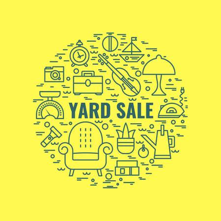 Yard sale sign. Template for poster, banner.Garage sale flyer template. Vector line style illustration.  イラスト・ベクター素材