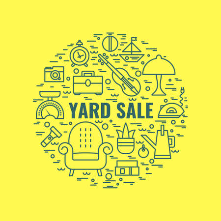 Yard sale sign. Template for poster, banner.Garage sale flyer template. Vector line style illustration. Vectores