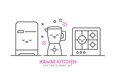Kitchen appliances. Vector line template. Banner or flyer concept for kitchen shop, sale, advertising.