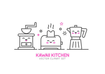 Kitchen appliances. Vector line template. Banner or flyer concept for kitchen shop, sale, advertising.