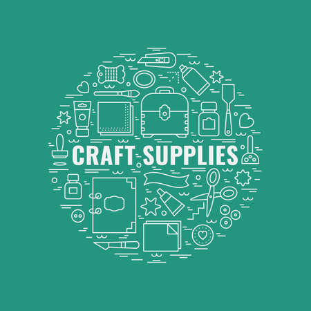 Craft supplies poster. Template for flyer and banner.