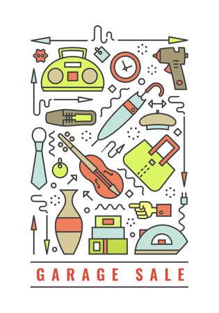 Vektor Linienart Illustration. Flohmarkt, Yard Sale Flyer Vorlage. Gestaltungselement für Plakate, Banner, Werbung.