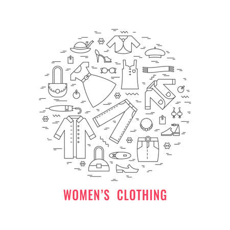 Womens clothing poster. Template for flyer and banner.  Poster for big sale, shops, fashion show, sewing studio, advertising. Vector line style illustration.