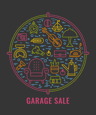 Yard sale sign. Template for poster, banner. Garage sale flyer template. Vector line style  illustration. Illustration