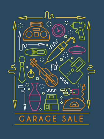 A Vector line style illustration. Garage sale, yard sale flyer template. Design element for posters, banners, advertisings.  イラスト・ベクター素材