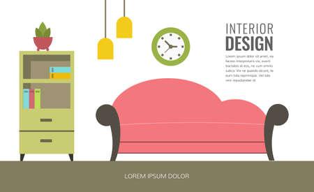 Modern interior design of a living room.  イラスト・ベクター素材