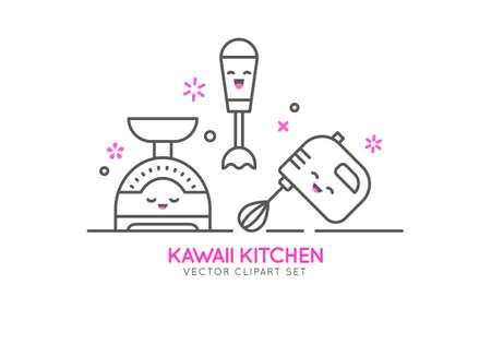 Kitchen appliances cartoon character illustration.  イラスト・ベクター素材