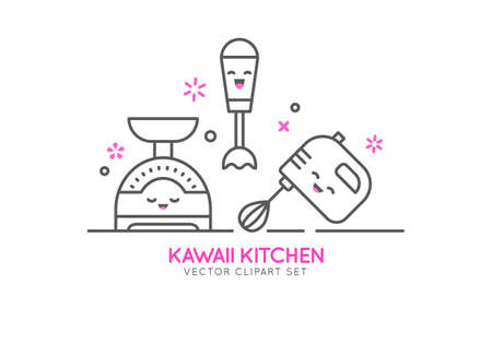 Kitchen appliances cartoon character illustration. Illustration