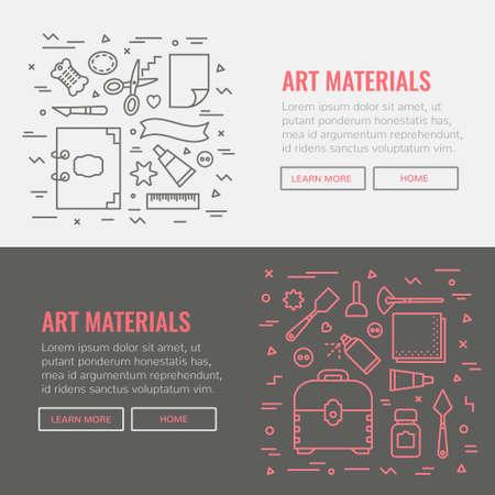 Banner template for website, art materials shop, art studio.
