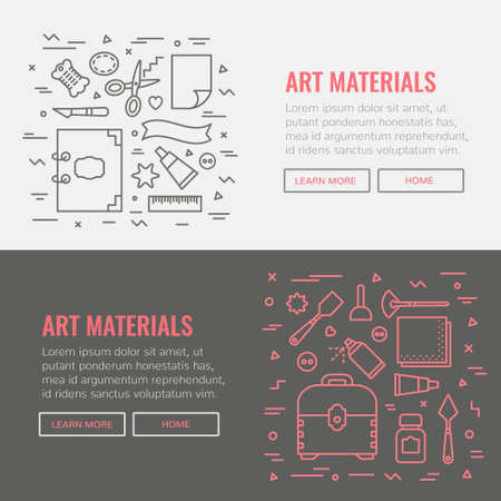 Banner template for website, art materials shop, art studio.