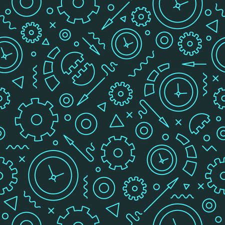 Backdrop pattern with clocks and gears. Illustration