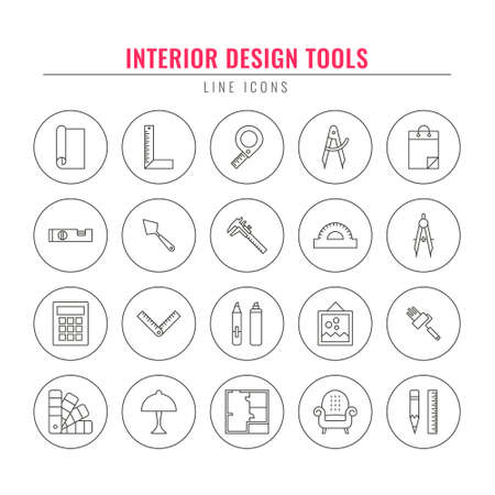 Interior design tools. Thin Line Icons Set. Elements for architectural design firm, home repair, home remodeling, websites. Vector line style illustration.