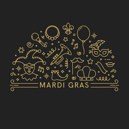 Mardi Gras illustration. Template for flyer, banner and poster.Vector line style illustration.