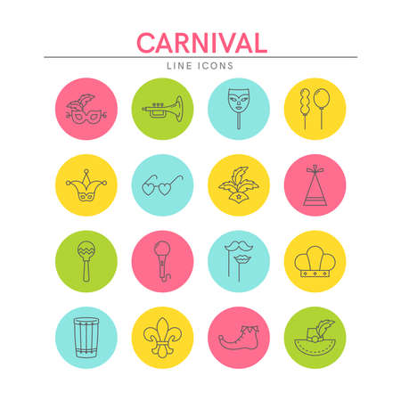 Carnival and Mardi Gras line icons set. Elements for websites, banners, flyers, posters. Vector line style illustration.
