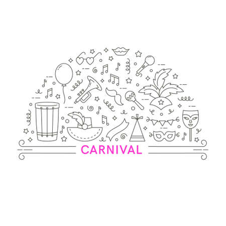 Carnival concept. Vector line style illustration.Template for flyer, banner and poster.