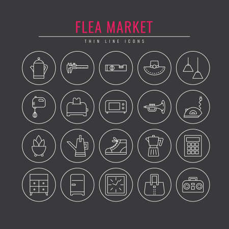 Flea market outline icons. Design elements for  Websites, Banners, Posters, Signs. Vector line style illustration.  Illustration