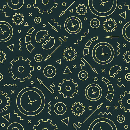 Editable vector seamless pattern. Backdrop texture with clocks and gears. Background for clock shop, websites, watches repair service. Vector line style illustration.