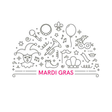 Mardi Gras illustration. Template for flyer, banner and poster. Vector line style illustration.