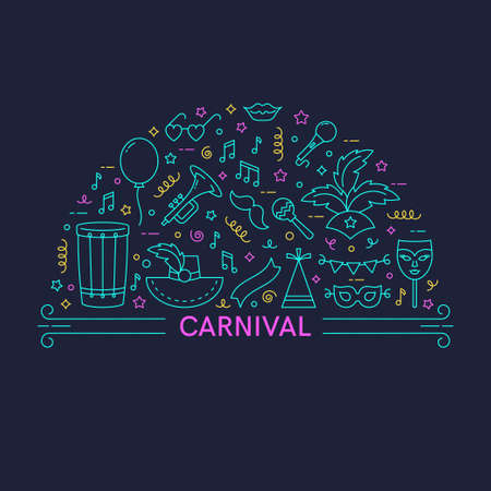 Carnival concept. Vector line style illustration.Template for banner and poster.  イラスト・ベクター素材