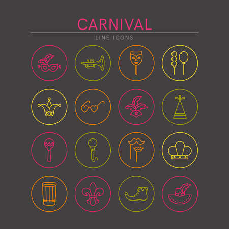 Carnival and Mardi Gras line icons set. Elements for websites, banners, posters. Vector line style illustration.