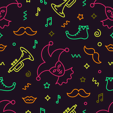 Editable vector seamless pattern. Mardi Gras background. Backdrop texture for banner, poster. Vector line style illustration.