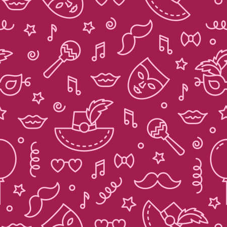 Vector seamless pattern. Carnival background. Backdrop texture for flyer, banner, poster. Vector line style illustration.  イラスト・ベクター素材