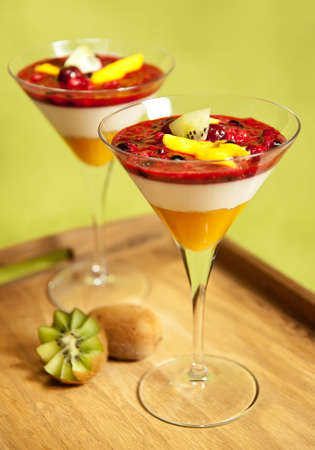 Panna cotta with mango, kiwi and forest fruit photo