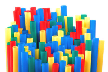 Colored straws isolated on white background photo