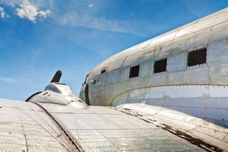 aircraft rivets: Remains of an abandoned Dakota DC3 aircraft from World War II on an airfield near Otočac, Croatia