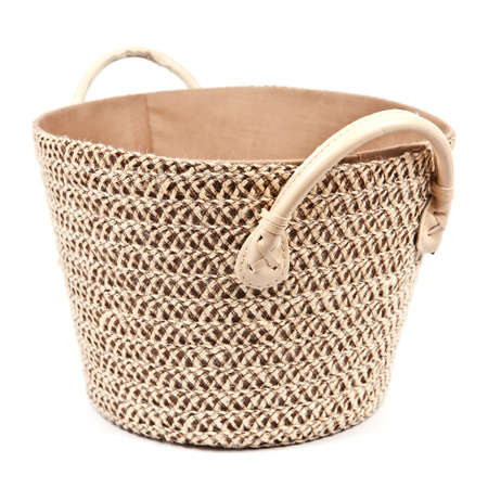 Round fabric storage basket on white background Stock Photo - 14788623