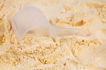 A scoop of vanilla whey isolate protein  Stock Photo