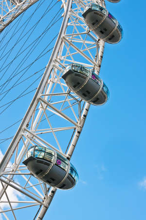 Detail of London Eye. With the diameter of 120 metres and height of 135 metres, it is the highest ferris wheel in Europe.