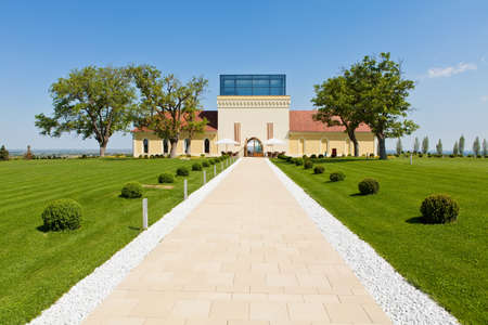Castle Principovac, restored in 2009, settled on hills above Ilok, Croatia. Castle is surrounded by vineyards with premium wines, such as Riesling and Traminer.  Stock Photo - 14755908
