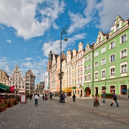 Main city square (Market Square) in Wroclaw, Poland