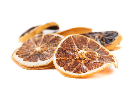 Slices of dried orange, on white background Stock Photo - 19684978