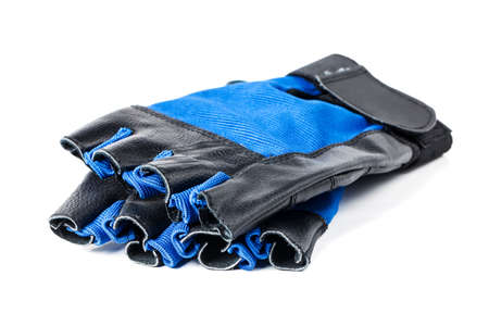 wrist strap: Blue and black leather gym gloves with wrist strap on white background