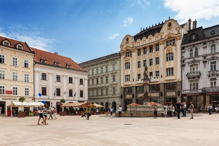 bratislava: People visit Main City Square in Old Town on May 8, 2013 in Bratislava, Slovakia. Bratislava is the most populous (462,000) and most visited city in Slovakia.   Editorial