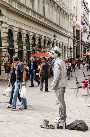 Street mime performer on May 9, 2013 in Bratislava, Slovakia. The city is political, economic and cultural center of Slovakia, seat of president, parliament and goverment.