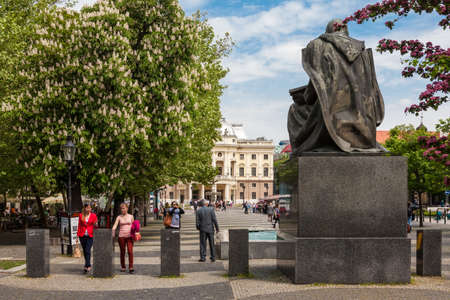 national poet: Statue of Pavol Orszagh Hviezdoslav,Slovak poet, dramatist, translator and MP, designed by Jozef Pospisil and Vojtech Ihrisky in 1937 on May 9, 2013 in Bratislava, Slovakia.