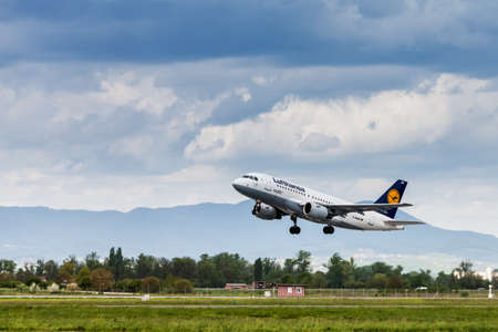 airport runway: Lufthansa Airbus A319-100 on runway at Pleso Airport in Zagreb, Croatia, taking off from runway 23