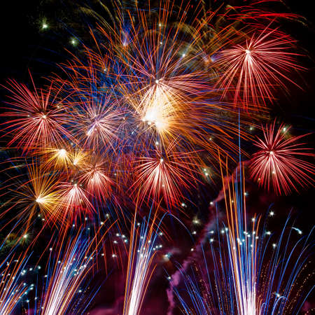 celebration party: Firework streaks in the night sky