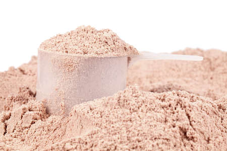 Een bolletje chocolade wei-isolaat eiwit Stockfoto