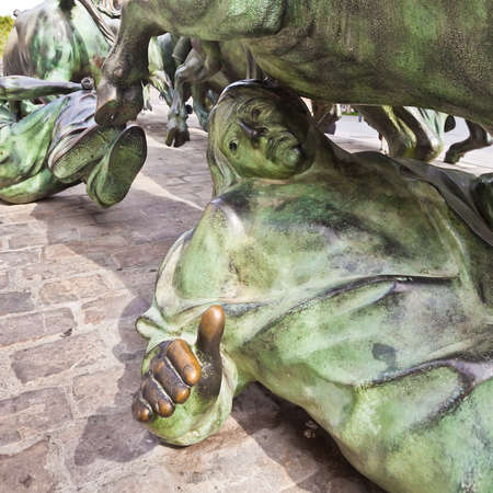 internationally: The Statue of Encierros in Pamplona, Spain. The statue was created by Rafael Huerta in 1994 in commemoration of the internationally known Pamplona Bull Run.