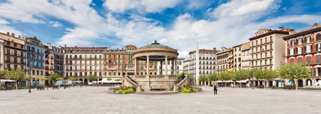 Plaza del Castillo in the center of Pamplona, Spain. Pamplona is famous for its San Fermin festival in which bulls run on the city streets.
