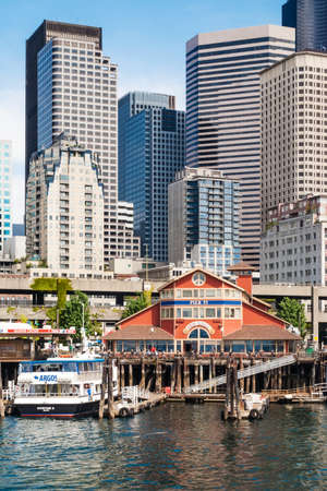 urbanized: Pier 55 at Central Waterfront in Seattle. It is one of the most urbanized parts of the shore at Elliot Bay; Peer 55 is used for cruise ships.