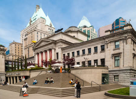 art gallery: Visitors and tourists in front of the Vancouver Art Gallery in Vancouver, Canada. The Vancouver Art Gallery is the fifth-largest art gallery in Canada and the largest in Western Canada.